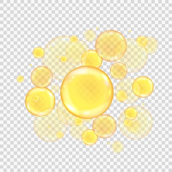 Oil golden bubbles isolated on transparent background. realistic gold collagen balls.