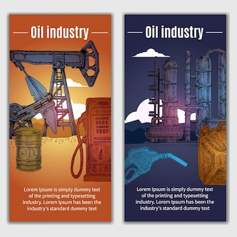 Oil industry banners illustration