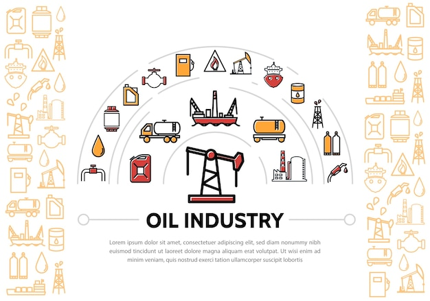 Oil industry composition with icons