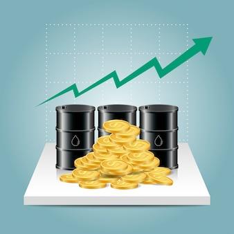 Концепция нефтяной промышленности. график роста цен на нефть с масляным баком и долларовыми монетами.