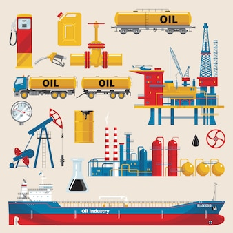 Oil industry decorative set