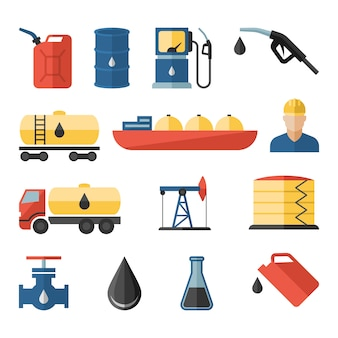 Oil industry drilling refining process petroleum transportation icons set