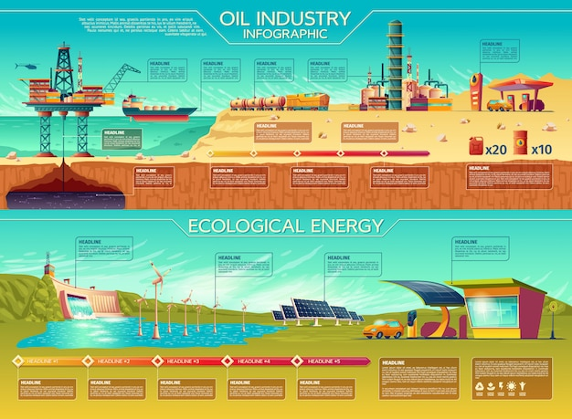 Oil industry ecological energy infographics presentation template set.