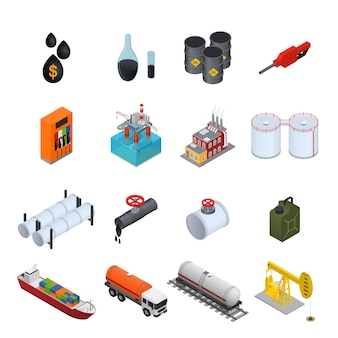 Oil industry and energy resource color icons set.