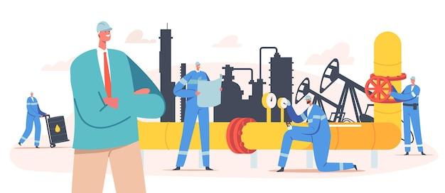 石油産業の抽出の概念。ポンプ塔とガスパイプを備えた掘削プラットフォームでの工場労働者のキャラクター。均一な鉱業ガスと石油の産業従業員。漫画の人々のベクトル図