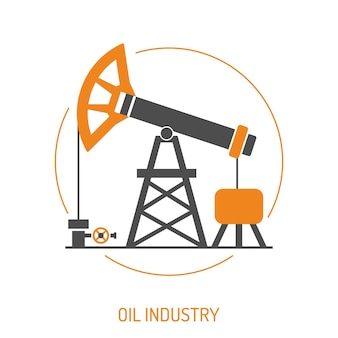 Oil industry extraction and refinery concept two color icons set with oil pump jack. isolated vector illustration.