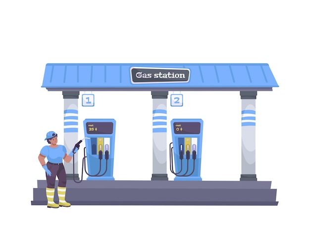 Oil industry flat composition with view of automobile gas station with human character of worker