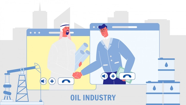 Oil industry flat vector web banner with text