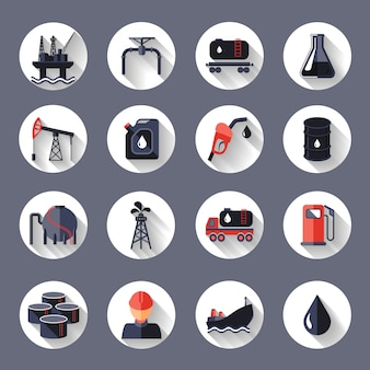 Oil industry fossil conservation and transportation icons set isolated vector illustration