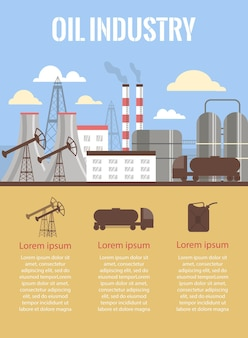 Oil industry and fuel production banner or poster flat vector illustration