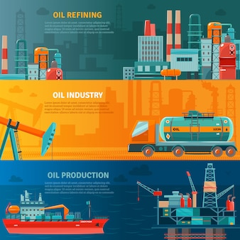 Oil industry horizontal banners set