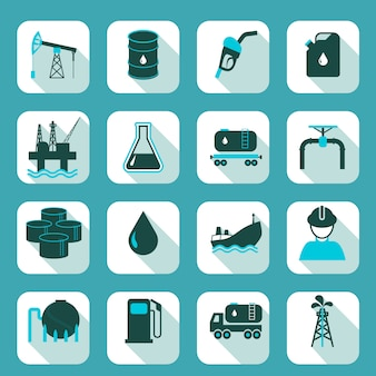 Oil industry icons set with pump tanker barrel isolated vector illustration.