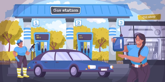 Oil industry illustration with gas station flat illustration