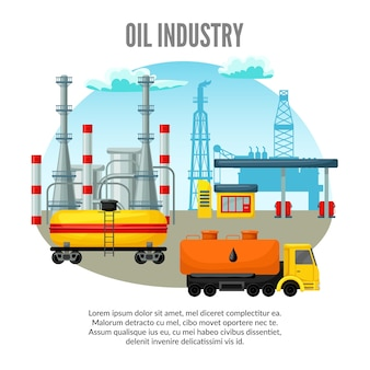 Illustrazione di industria petrolifera