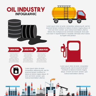 Oil industry infographic barrel fuel gas station transport