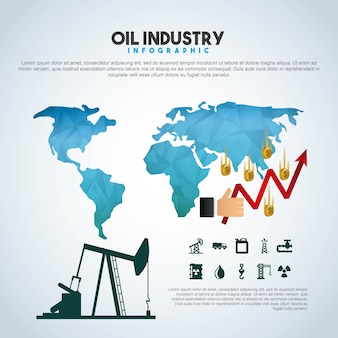 Oil industry infographic extraction financial growth world
