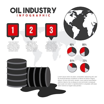 Oil industry infographic global map barrel gas and charts