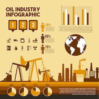 석유 산업 infographic 프로세스 공장 단계 그래프