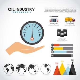 石油産業のインフォグラフィックトランスポートステーションの生産グラフ