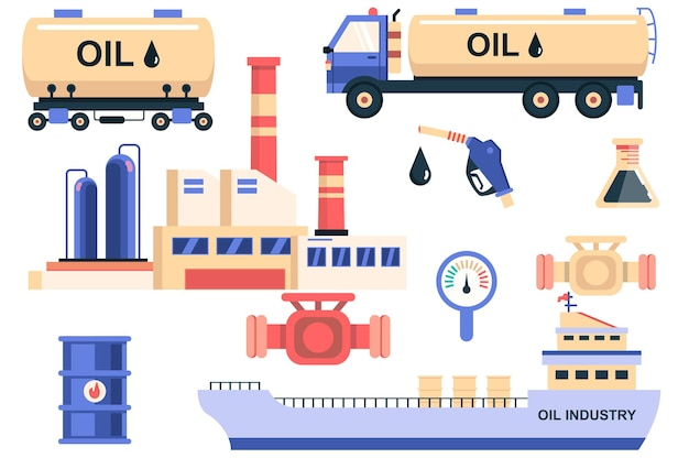 Oil industry isolated elements set bundle of oil tanker storage and transportation in ship