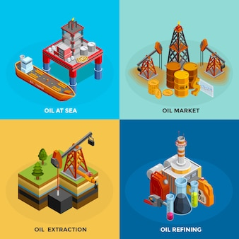 Oil industry isometric icons square