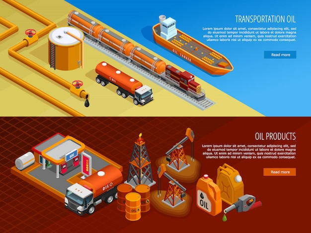 Oil industry isometric webpage banners set