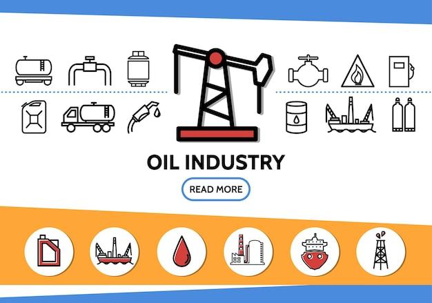 Набор иконок линии нефтяной промышленности с буровой установкой, топливозаправщиком, топливным пистолетом, дозатором, деррик, канистрами