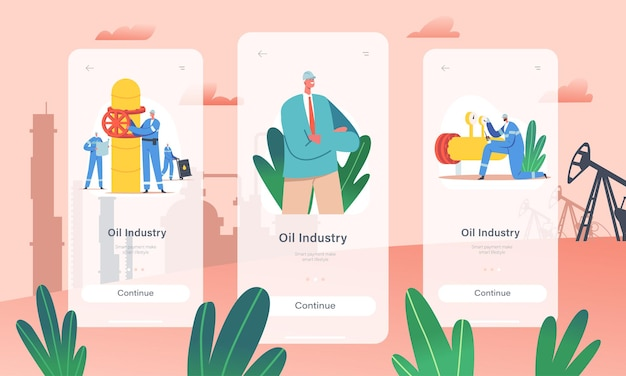 석유 산업 모바일 앱 페이지 온보드 화면 템플릿. 가스 시설 파이프 라인에 서 있는 가스맨 및 엔지니어 캐릭터