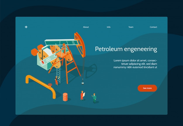 Oil industry page design with petroleum engineering symbols isometric