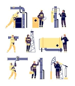 석유 산업. 석유 엔지니어, 오일 맨이 일하고 있습니다. 휘발유 생산 및 정유. 격리 된 석유 화학 공장 노동자 벡터 세트. 석유 산업, 석유 산업 기술 그림