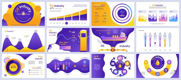 Oil industry presentation slides templates from infographic elements