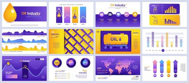석유 산업 프레젠테이션은 인포 그래픽 요소의 템플릿을 슬라이드합니다.