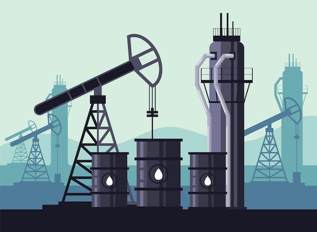 석유 산업 생산 개념