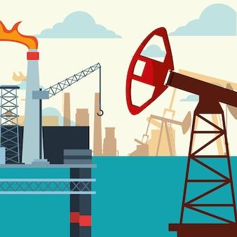 바다에서 석유 산업 펌프 잭 플랫폼 생산
