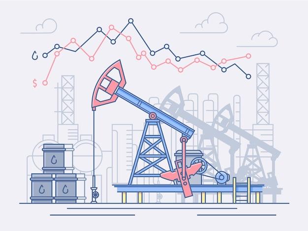 석유 산업, 펌프, 무역. 가격 변동 및 이익 그래프.