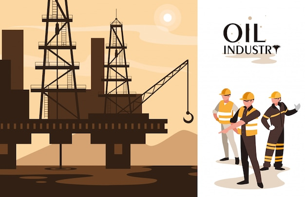 Oil industry scene with marine platform and workers