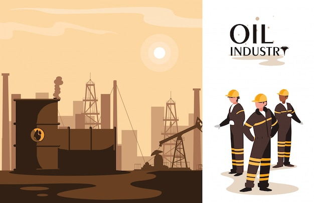 Oil industry scene with plant pipeline and workers