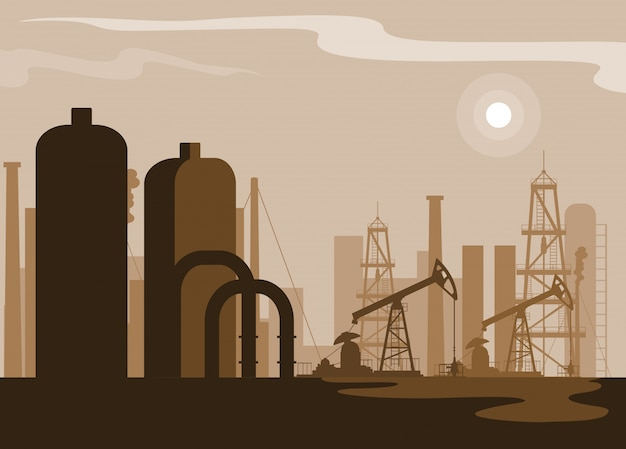 Oil industry scene with plant pipeline