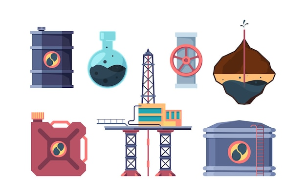 Oil industry set. drilling well, opening valve on pipe, pumping oil off platform, studying the composition, pumping it into canister, tank, and storage.