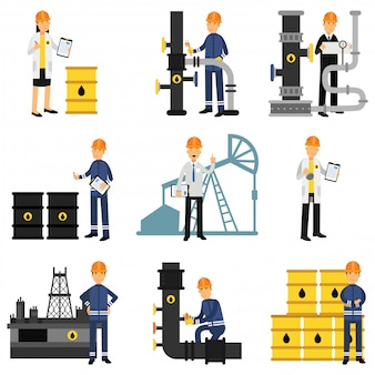 Oil industry set, extraction, production, refinery and transportation oil and petrol   illustrations