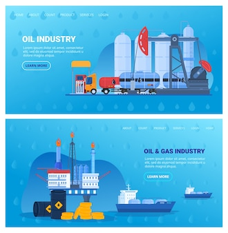 Oil industry vector illustration set, cartoon flat industrial flat banner collection with drilling offshore platform, storage tank