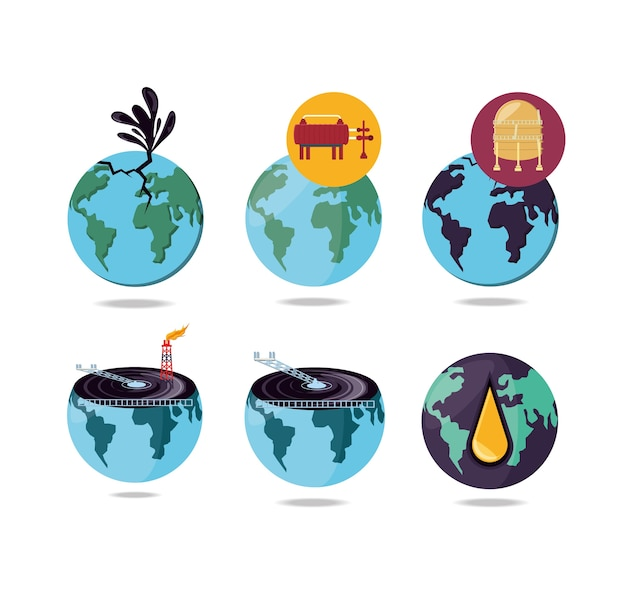 Oil industry with world planet
