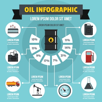 Oil infographic concept, flat style