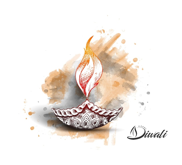 Oil lamp - diya, diwali festival, hand drawn sketch vector illustration.