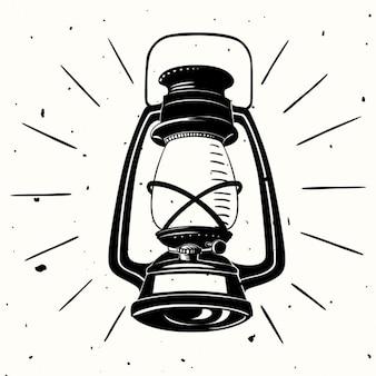 An oil lamp hand drawn