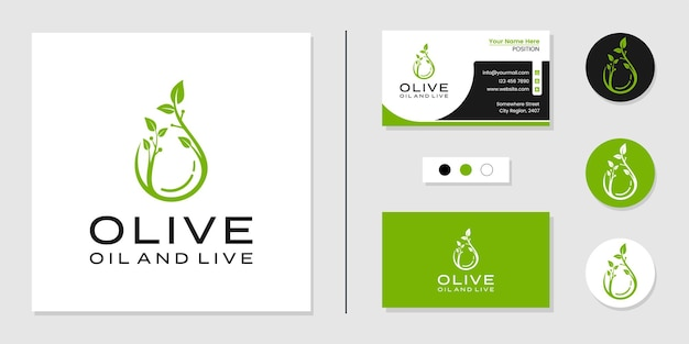 Oil and leaf nature logo and business card design template