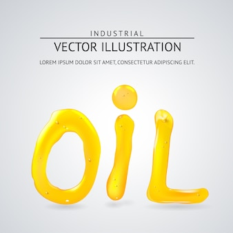 Oil liquid text. on a white background.