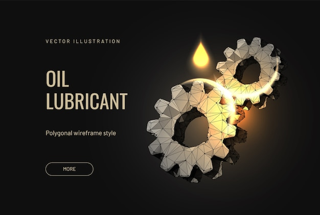 Oil lubricant for a car with a gear in a futuristic polygonal style