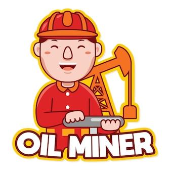 Вектор логотипа талисмана профессии нефтяника шахтера в мультяшном стиле