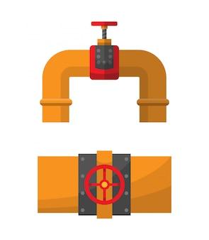 オイルまたは燃料パイプ継手。チューブ産業、建設パイプライン、排水システム。石油要素。バナーやインフォグラフィックポスターの平らな要素
